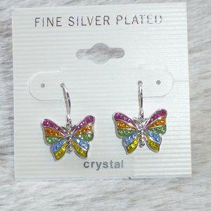 Crystal Butterfly Dangle Earrings Silver Plate New